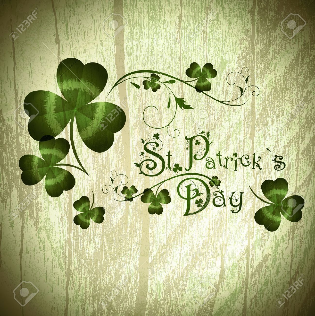 bfe02ec75c58 Vintage Wooden Background With St.Patrick Day Greeting With Shamrocks  Royalty Free Cliparts, Vectors, And Stock Illustration. Pic 13810612.