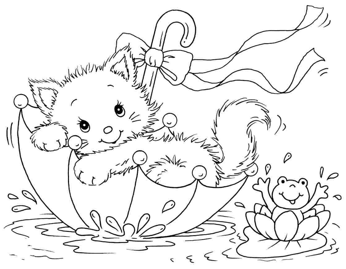Printable Coloring Pages Kittens With Cats Coloring Pages Coloring Pages Gallery Printable Col Cat Coloring Page Umbrella Coloring Page Spring Coloring Pages