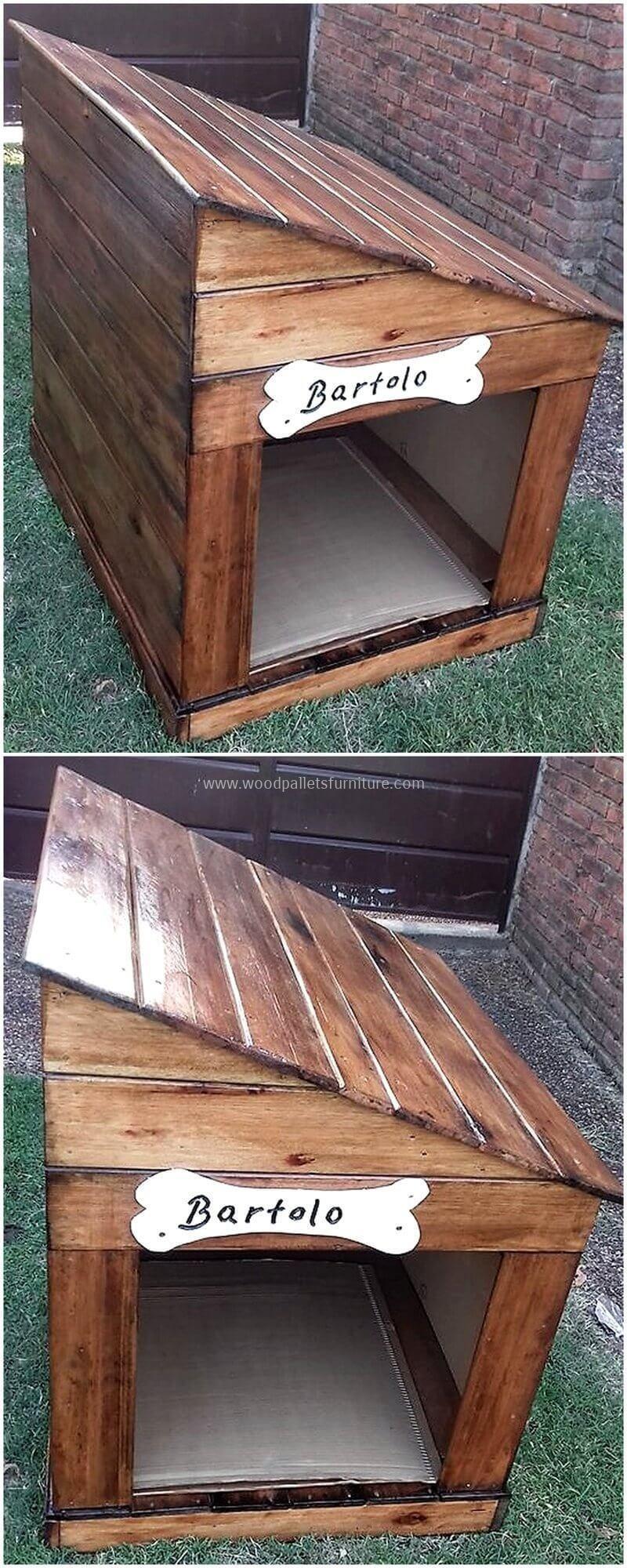 Original Diy Ideas For Wooden Pallets Recycling Pallet Dog House Dog Furniture Wooden Dog House