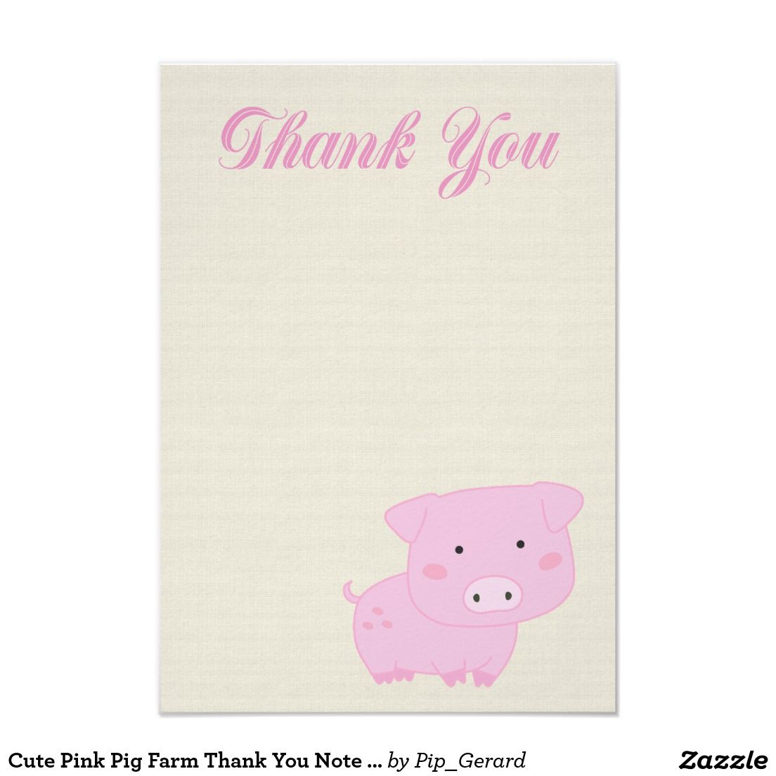 Cute Pink Pig Farm Thank You Note Cards