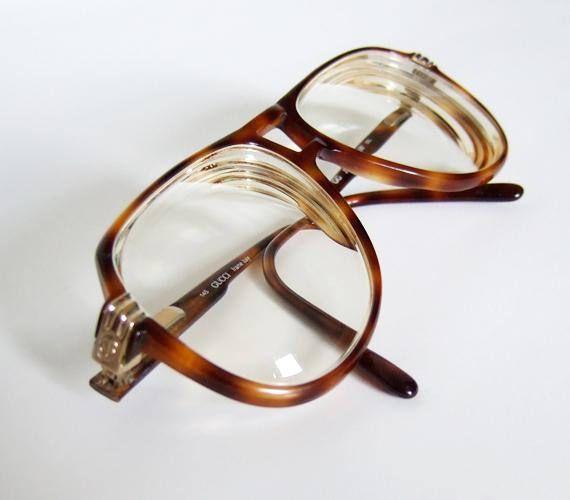 127009d1bd9b Vintage Gucci Glasses Tortoise Shell Frames Brown Oversized 80s Aviator Glasses  GG 1100 Eyeglasses
