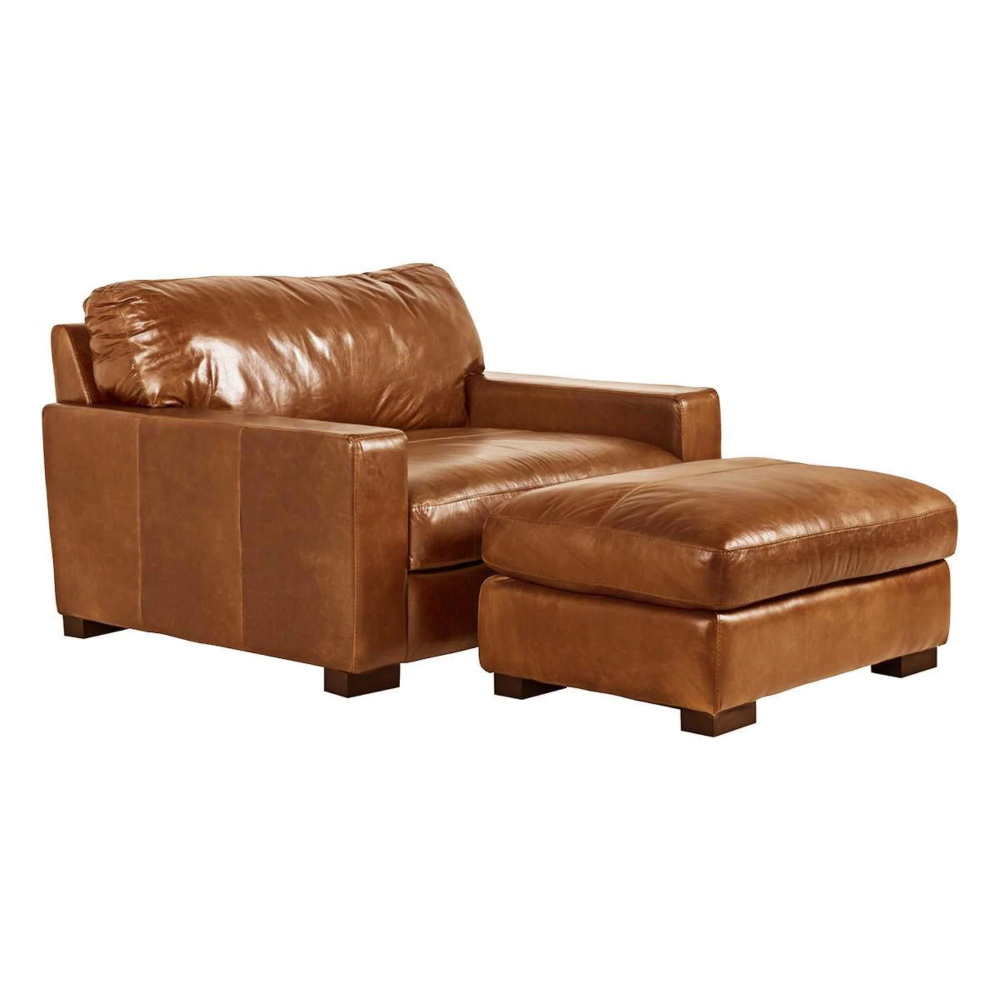 Softline Leather Chair And A Half And Ottoman In Splendor Chestnut Nebraska Furniture Mart In 2020 Chair And A Half Leather Sofa Leather Sofa Living Room