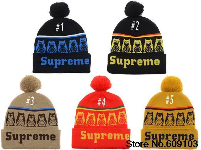 85fcafa07fe Hip-Hop Unisex Supreme Owl Owls Black with Yellow Beanies Wen s Women s  Winter knit Cotton wool Hats Snapback caps 1pcs lot  9.99