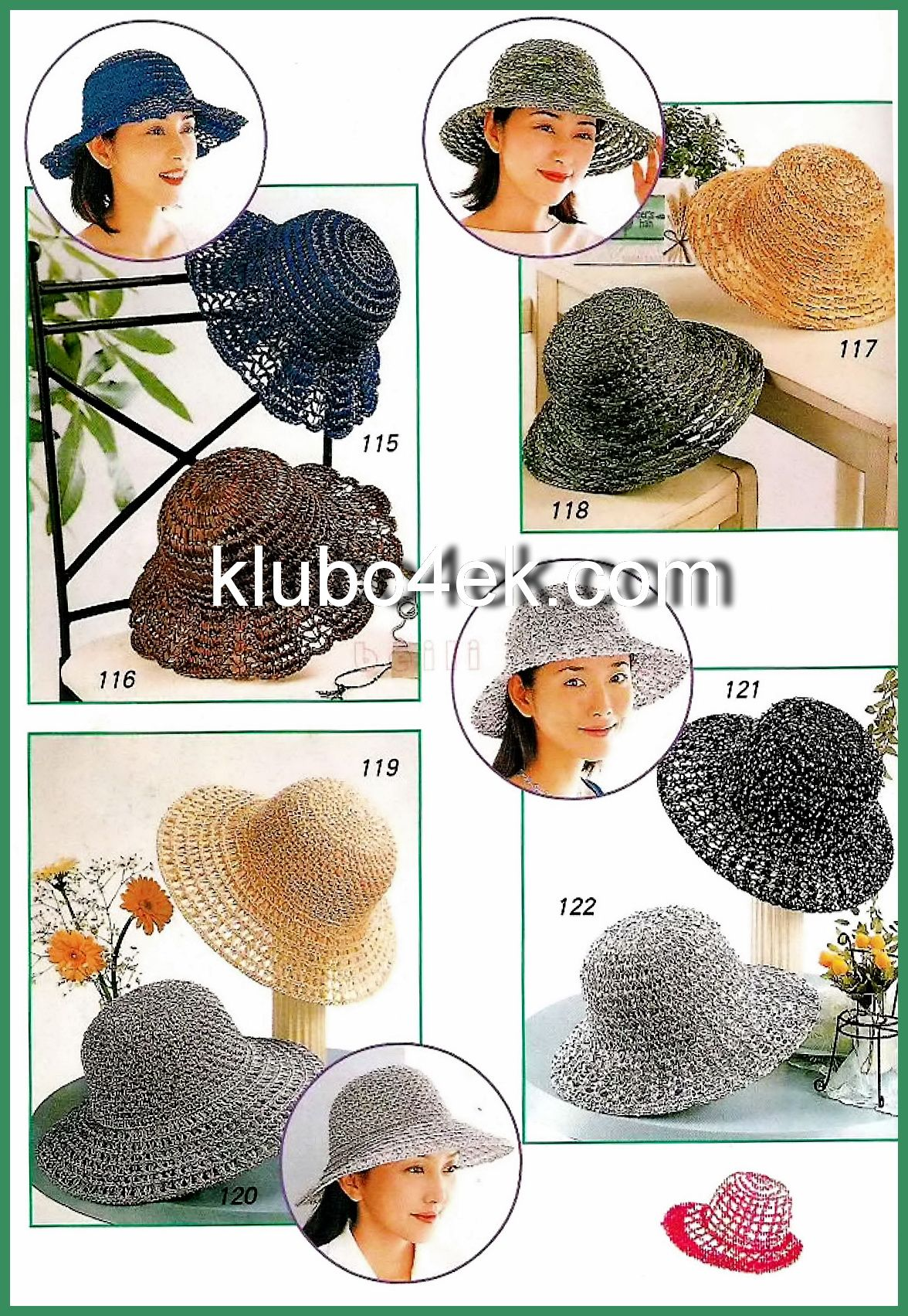 Few summer hats to crochet. Russian site...has big clear charts ...