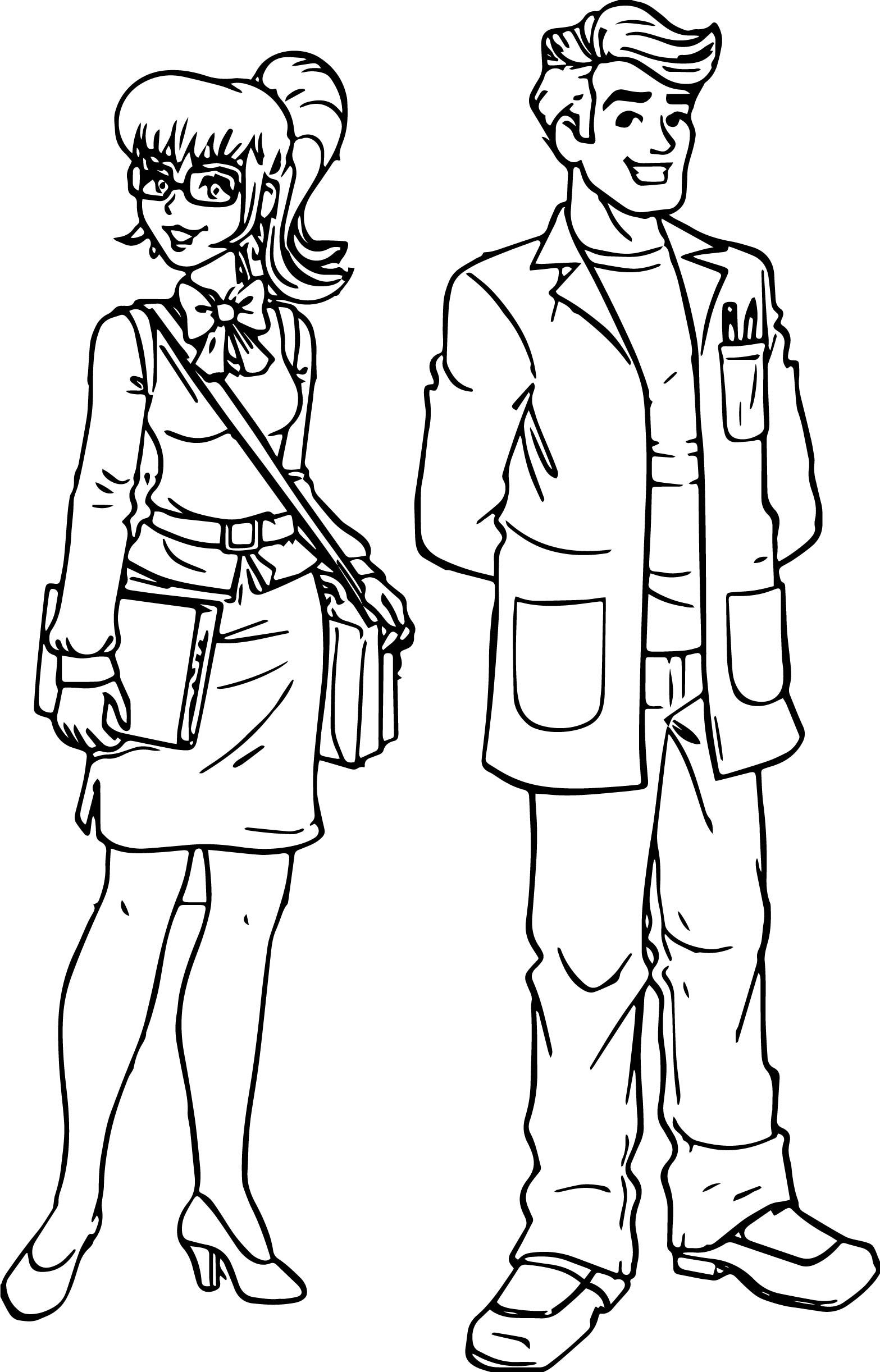 Woman Teacher Monica And Man Teacher Coloring Page Coloring