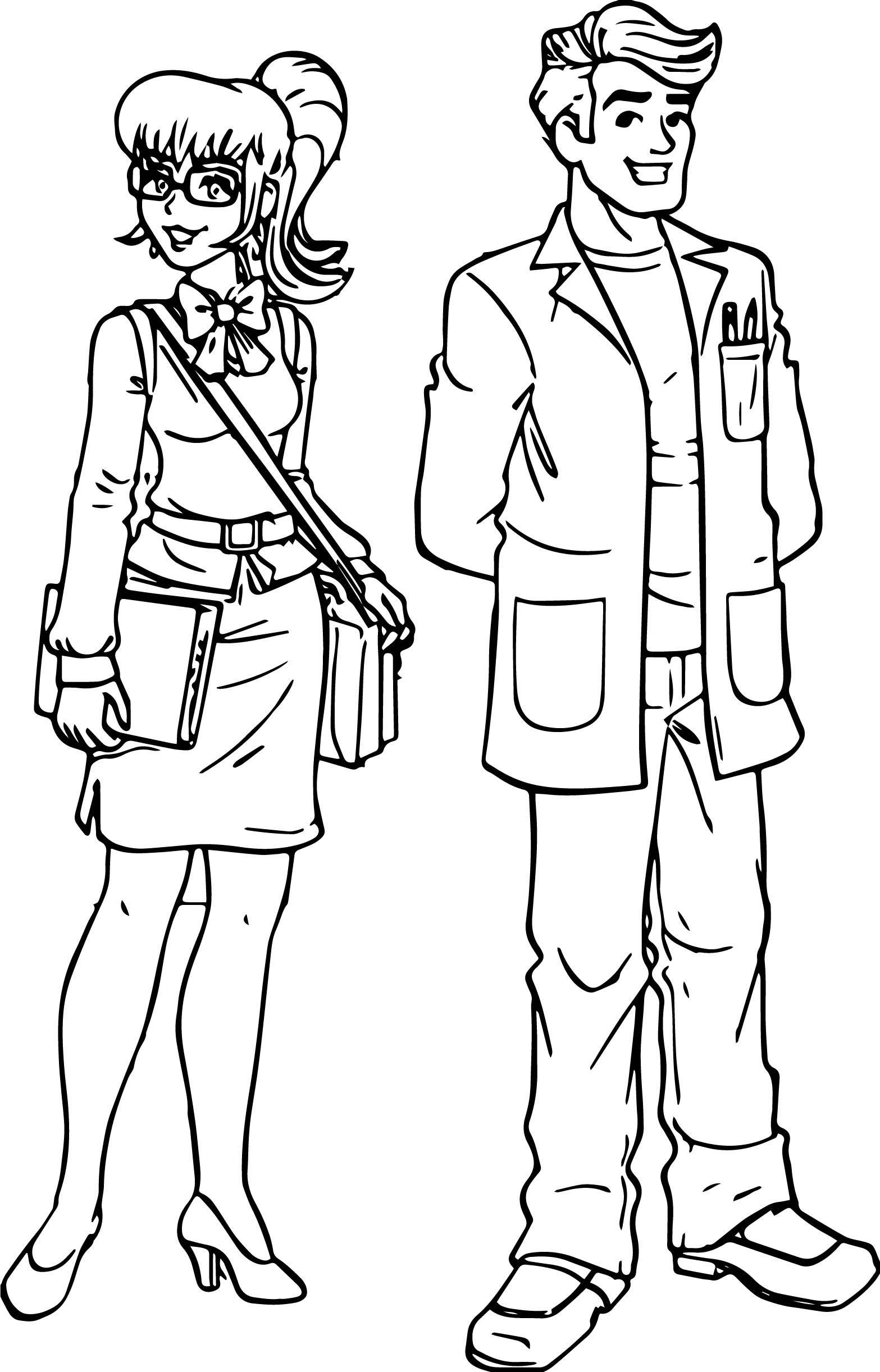 Woman Teacher Monica And Man Teacher Coloring Page Coloring Pages For Boys Coloring Pages Color