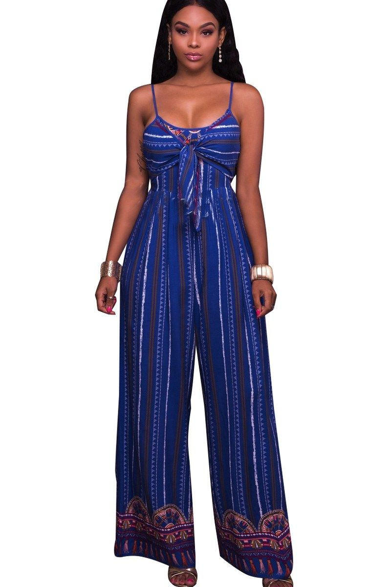 13727b084619 Blue Stripe Print Cutout Back Sleeveless Sexy Wide Leg Jumpsuit ...
