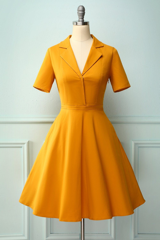 Lapel Yellow 1950s Dress In 2020 Vintage Dresses 50s Dresses Pretty Dresses [ 1500 x 1000 Pixel ]