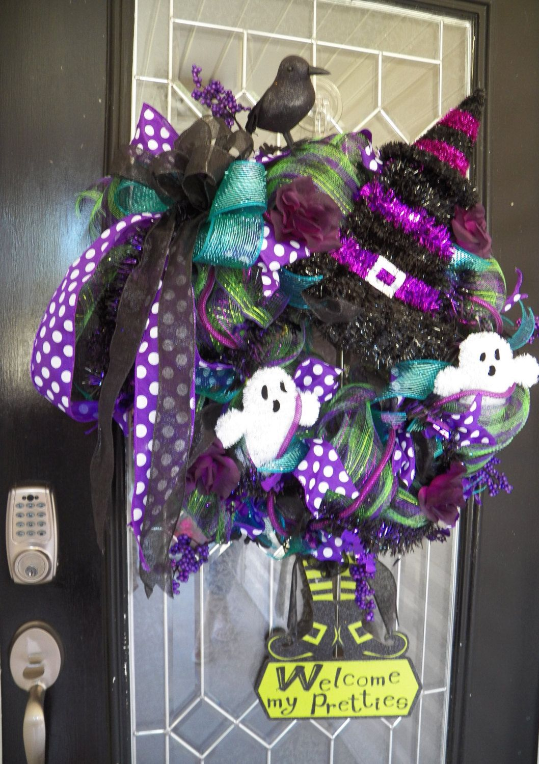 Halloween Wreath, Halloween Decoration, Halloween Party, Wreath for - Front Door Halloween Decorations