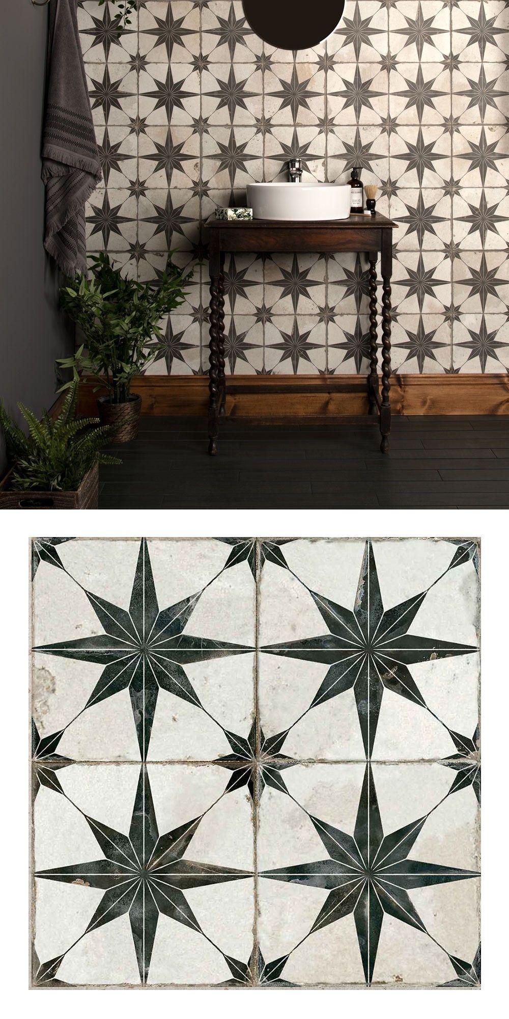 Photo of Scintilla Black Star Pattern Tiles