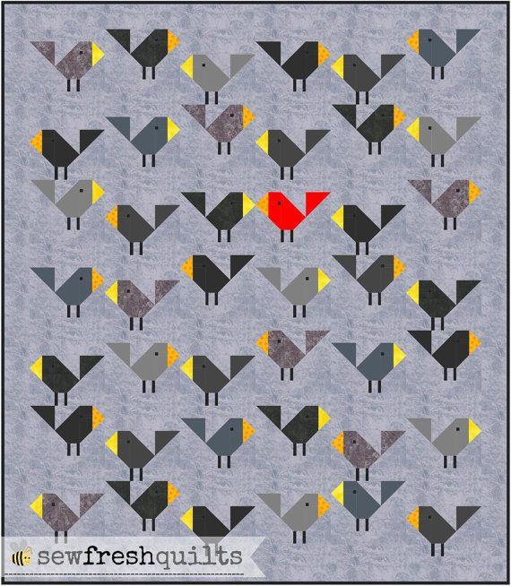 Black Birds Quilt Pattern, PDF, Instant Download, modern patchwork ... : bird quilt - Adamdwight.com