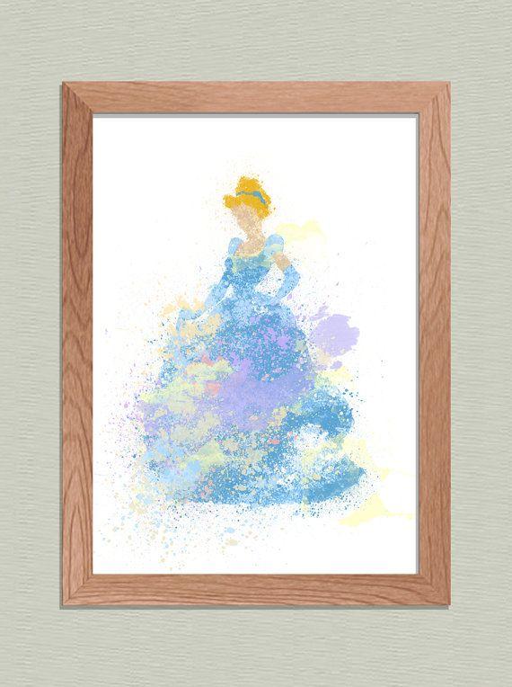 Disney PRINCESS CINDERELLA Paint Splash Picture Print Nursery Bedroom