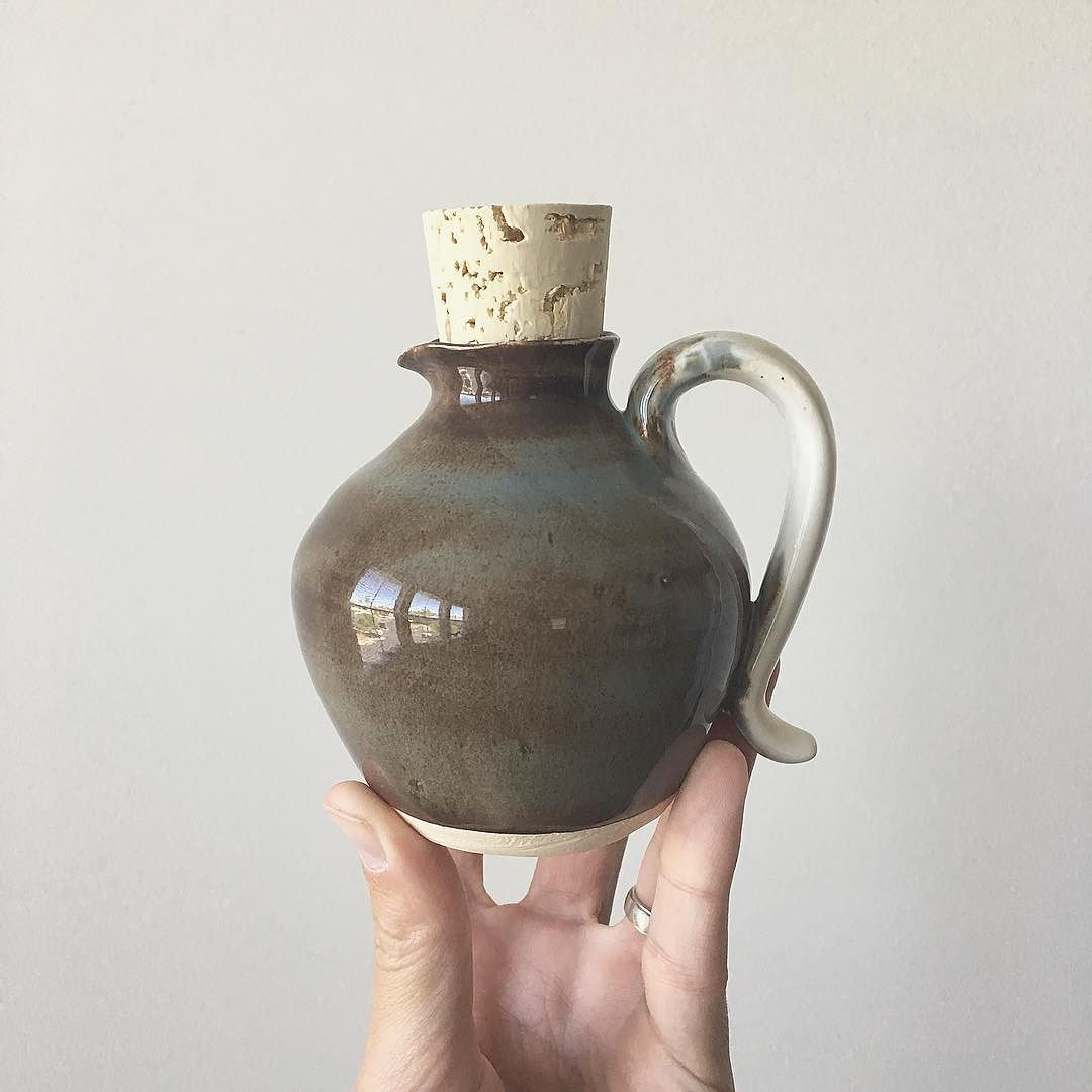 This mini creamer jug was an experiment in pouring lips and basic handles. Finished in batik blue and gloss white. . . #pottery #ceramics #jug #handmade #coffee