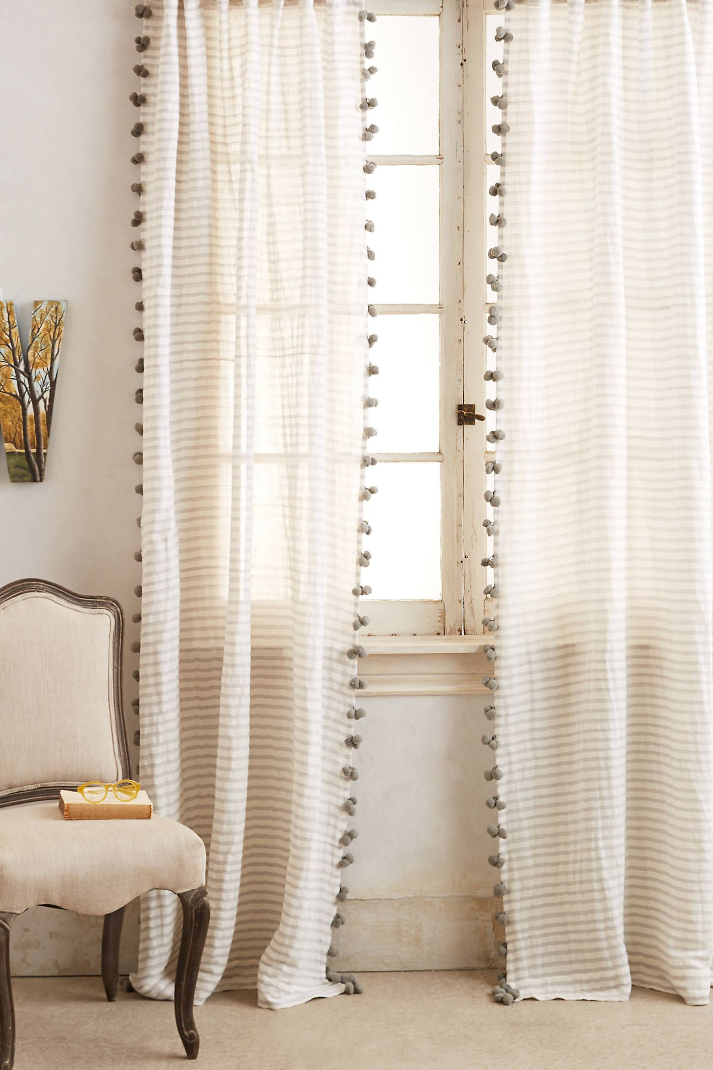 Pom Tassel Curtain By Anthropologie In Grey Curtains Tassel Curtains Curtains Home Curtains