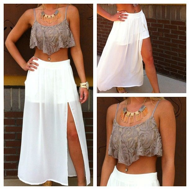 Cute grey crop top with flowers and a cute white see through maxi ...