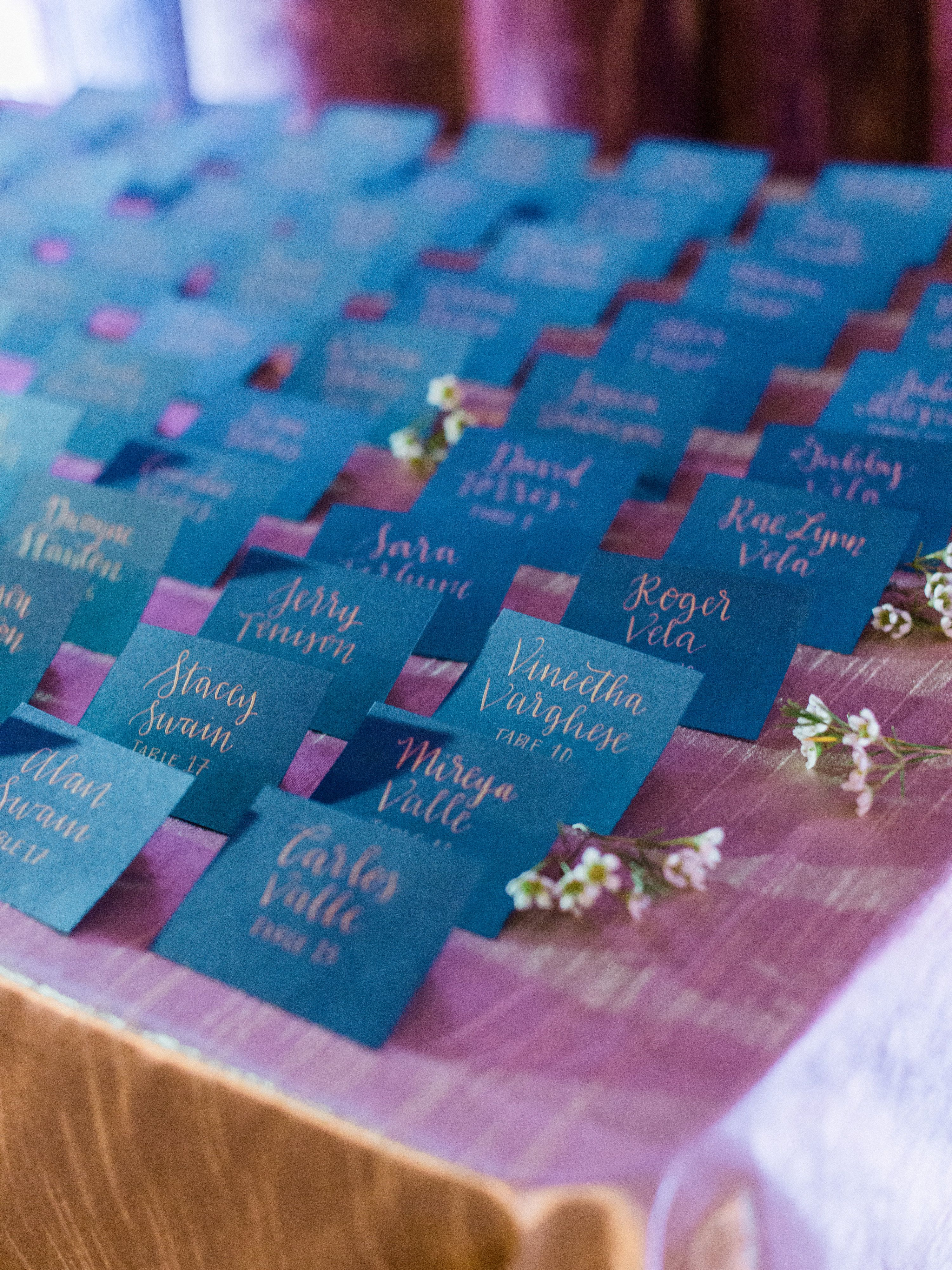 Navy escort cards with gold calligraphy