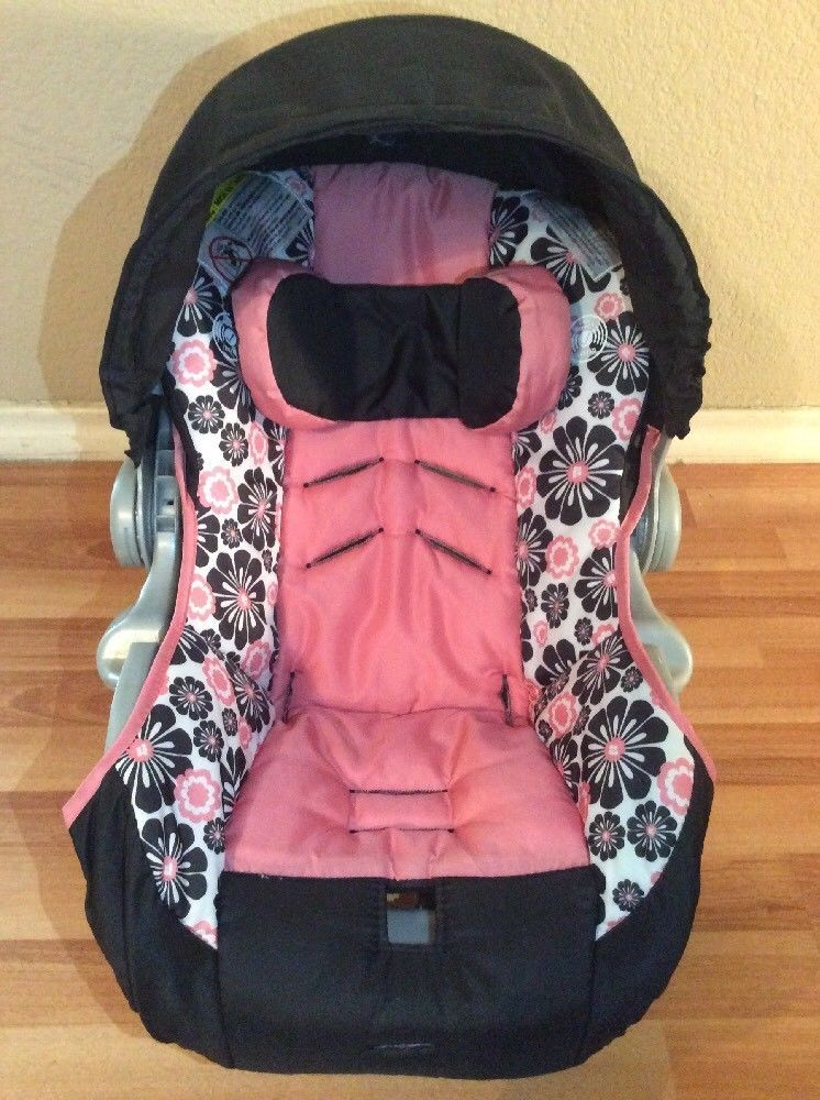EVENFLO Embrace Baby Car Seat Cover Cushion Canopy Set Part Infant Pink Black