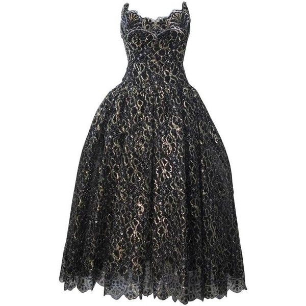 Preowned Scassi Black And Gold Floral Metallic Lace Bustier Gown ...