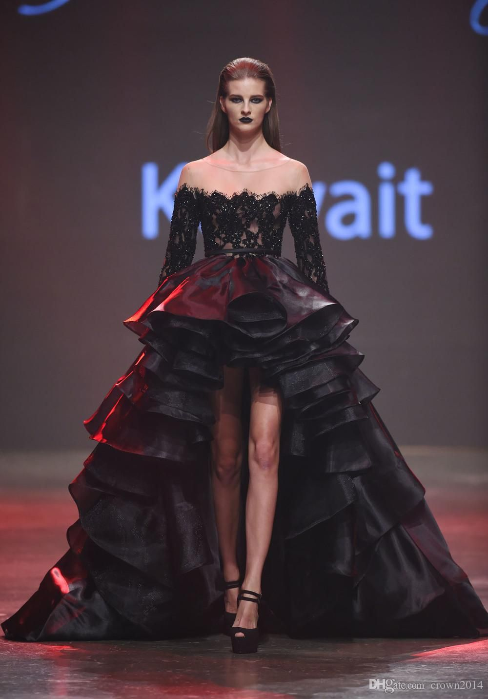 Elegant high low black prom dresses beaded lace organza long