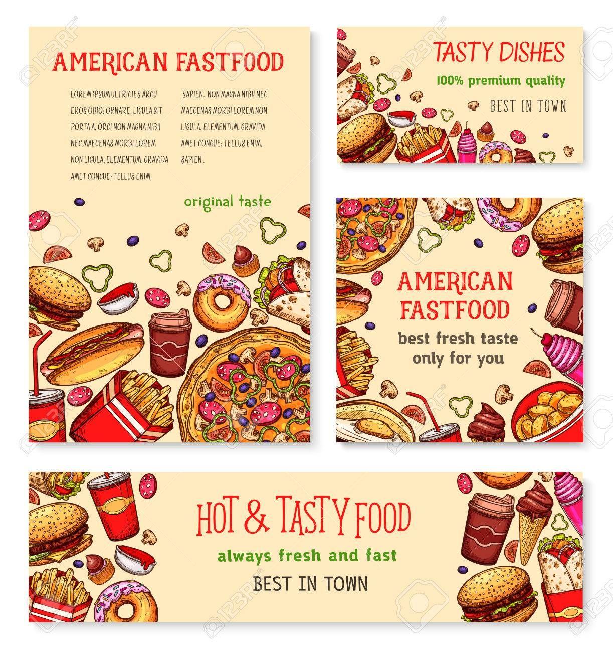 Fast food banner and poster template set design Illustration