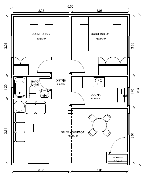 planos de casas 6 x 8