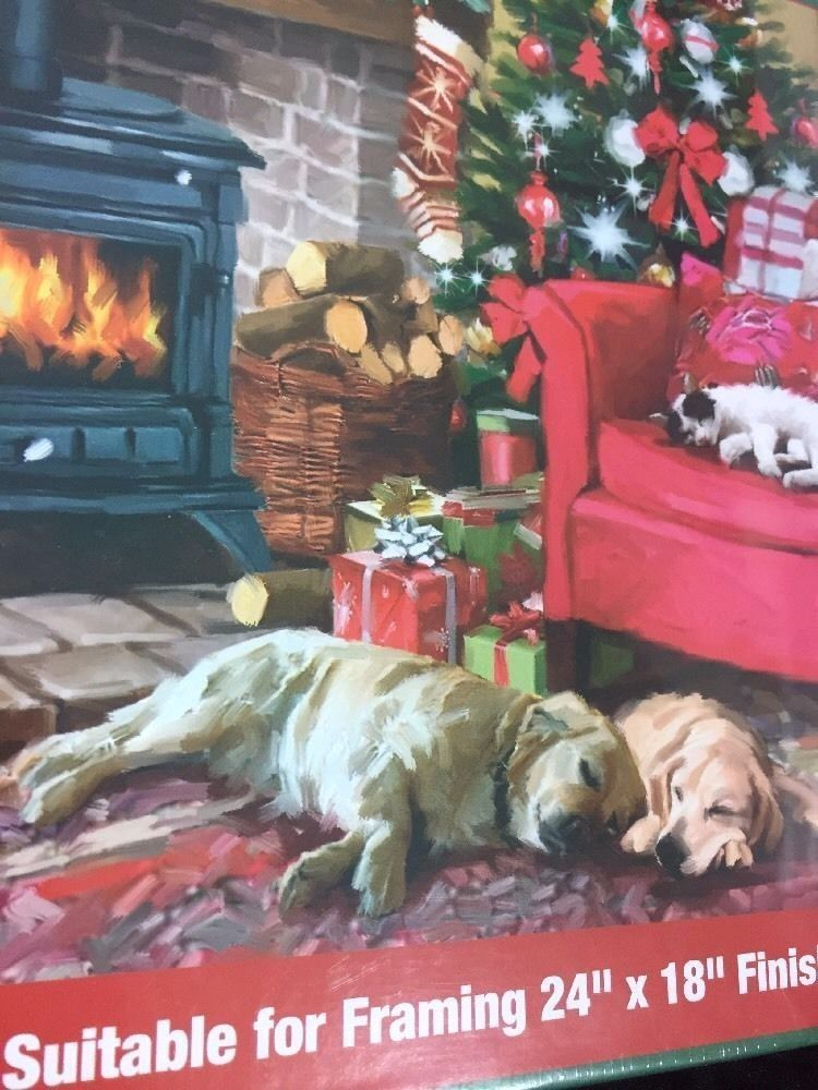 Cozy Christmas Jigsaw Puzzle Sealed 550 Pcs Dogs Kitty Fireplace
