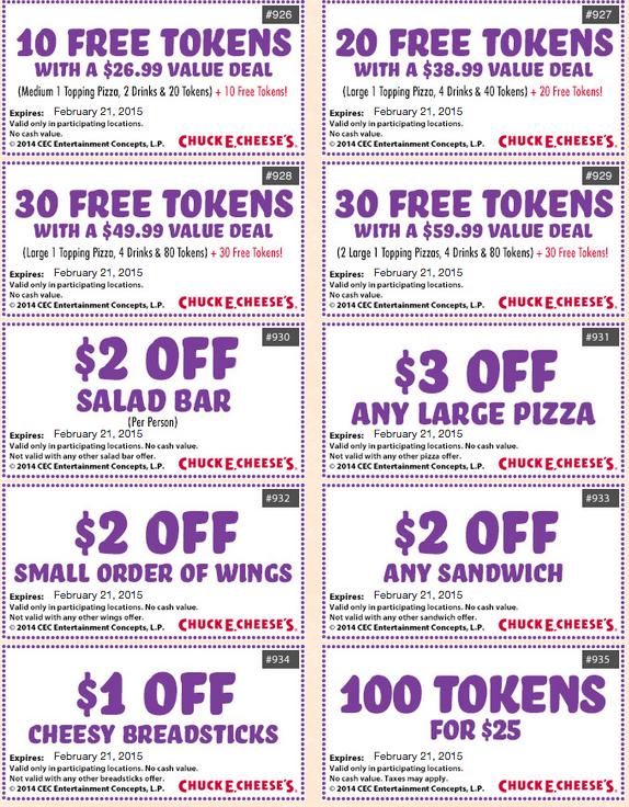 Chuck e cheese token coupons 2019