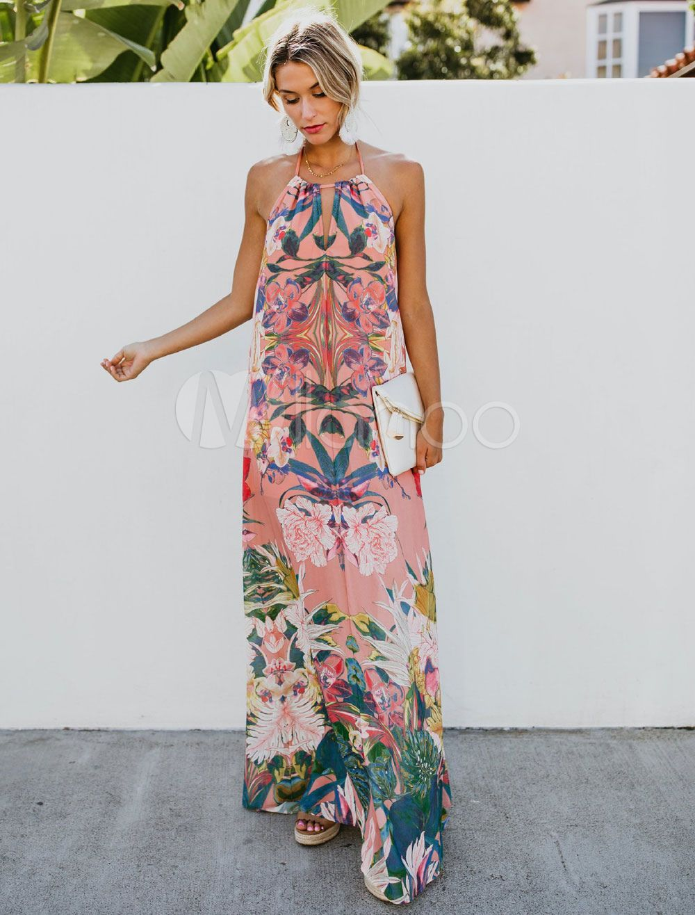Maxi Summer Dresses Floral Print Halter Women Tassels Knotted Long