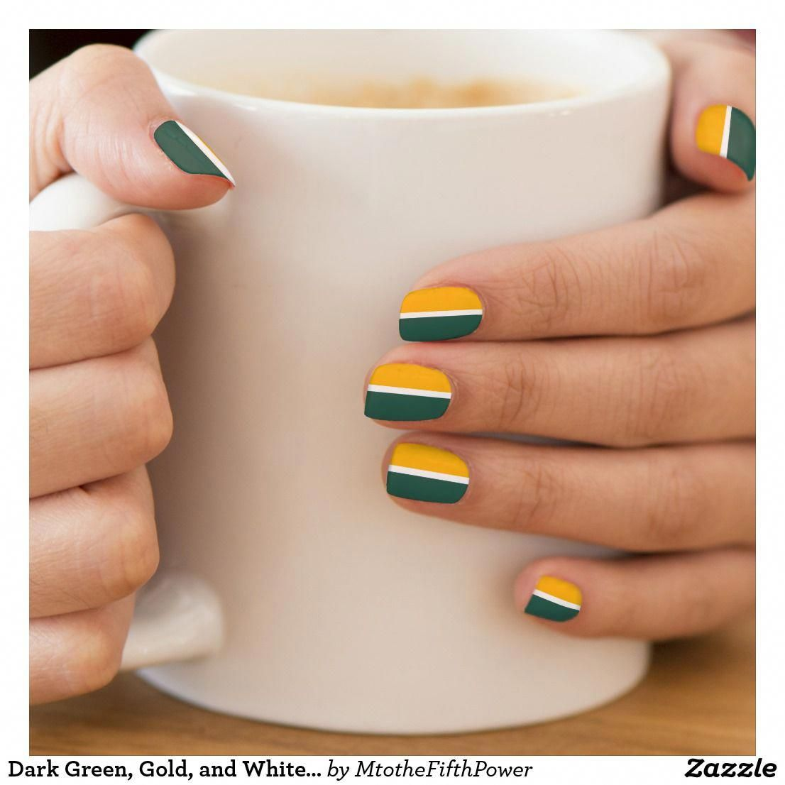 Dark Green, Gold, and White Stripe Minx Nail Art | Zazzle.com
