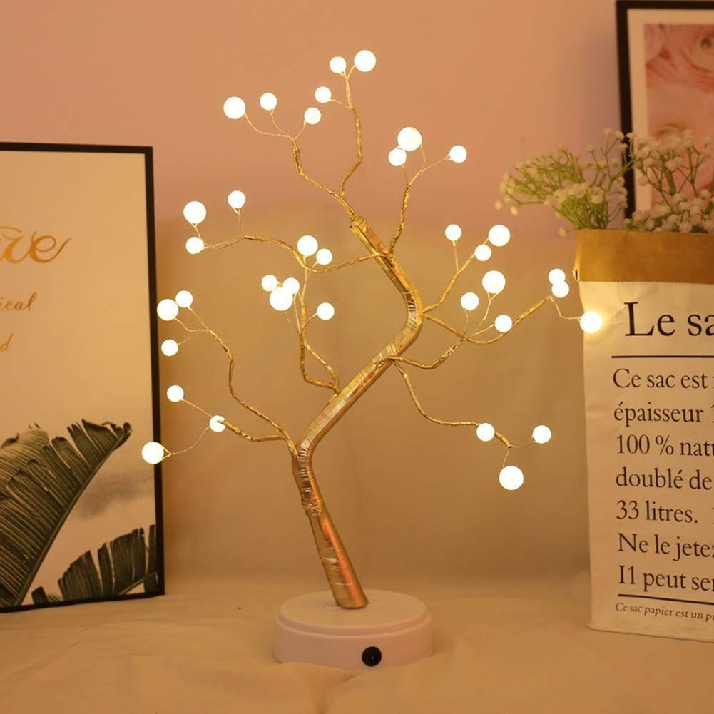 Khto Diy Led Desk Tree Lamp Desk Table Decor 36 Pearl Led Lights For Home Bedroom Indoor Wedding Party Decoration Touch Swit Led Lighting Home Lamp Tree Lamp