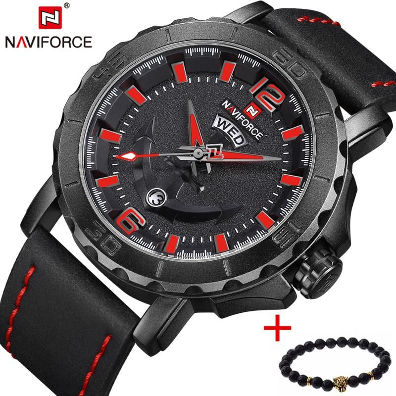0136324ebb87 NAVIFORCE Luxury Brand Military Sport Watch Men s Analog Quartz Clock  Leather Waterproof Wrist Watches men relogio masculino. Yesterday s price   US  29.07 ...