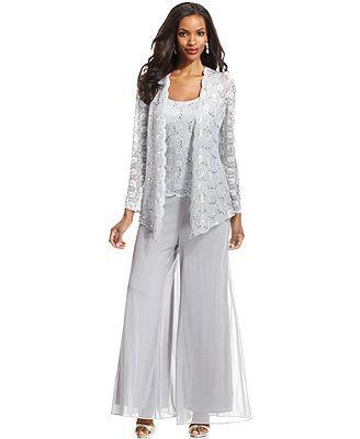 8b330859f47 Alex Evenings Lace Jacket Set   Wide-Leg Chiffon Dress Pants ...