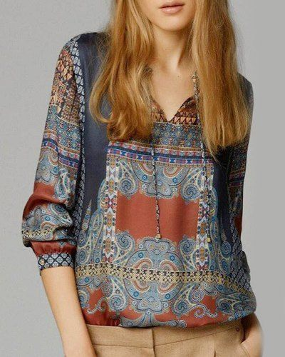 Women's Stylish Ethnic Print Long Sleeve Blouse