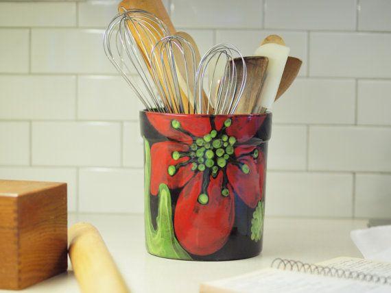 Kitchen Utensil Holder Crock Ceramic Xl Red Poppy Pottery Fl Gift For Hostess Bride Rp