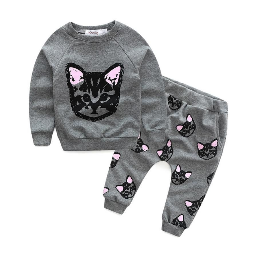 5c592524a Fashion Clothing Kid Suits Baby Kids Set Clothes Long Sleeve Cats ...