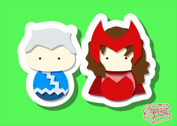 Scarlet Witch and Quicksilver Inspired - PostCard Print