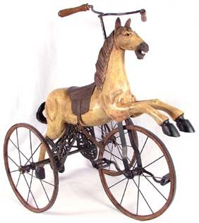 Antique Toy Horse Velocipede Tricycle Replica (?) I absolutely love this. P .@Jorge Cavalcante (JORGENCA)