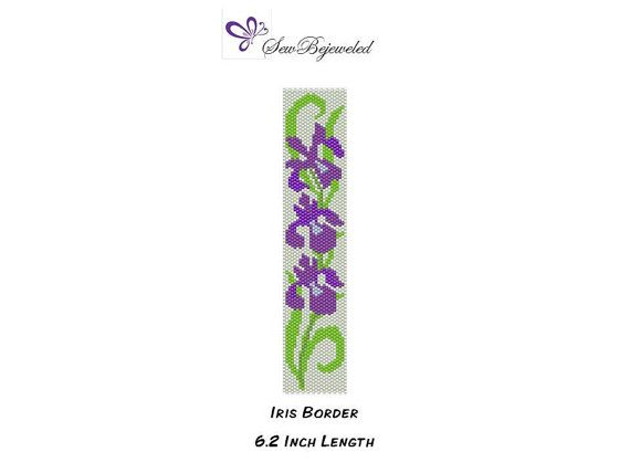 This striking Iris Border peyote bracelet pattern features vibrant purple irises nestled in green leaves on a delicate vine. This even count peyote pattern design uses 11/0 Miyuki Delica beads in 6 colors.  You will receive a PDF file which includes the following:  1. A computer generated image of the finished piece 2. A lettered bead graph 3. A bead legend with suggested colors and number of beads needed 4. A word chart of the pattern  CHART pattern measurements: Finished size 6.16 inches…