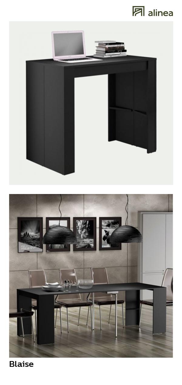 Alinea : Blaise Console Table Extensible Noire L50 à 270cm