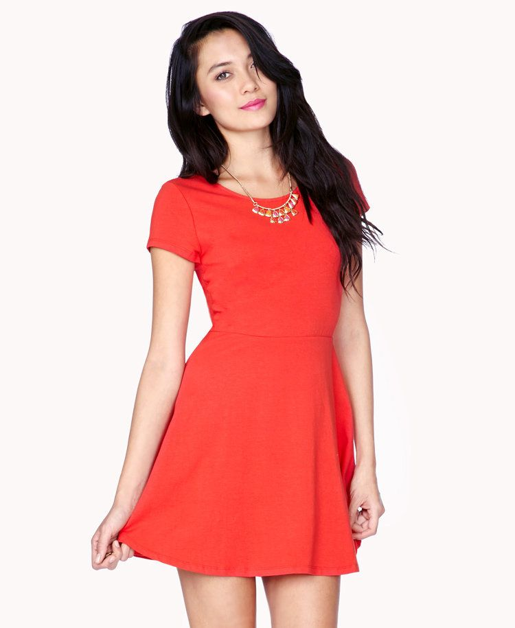Short Sleeve Skater Dress. Short Sleeve Skater Dress Simple Red ... 920d0daed