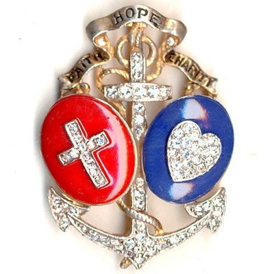 Trifari Philippe US Patriotic Red White & Blue Faith Hope & Charity Anchor Pin