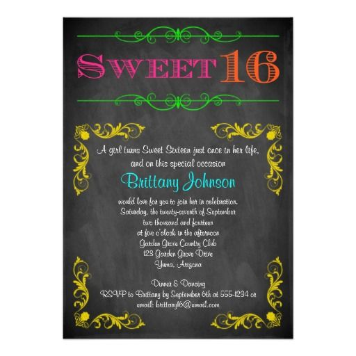 Neon Chalkboard Sweet 16 Birthday Invitation Online After You Search A Lot For Where To BuyDealsReview On The This Website By Click Button Below