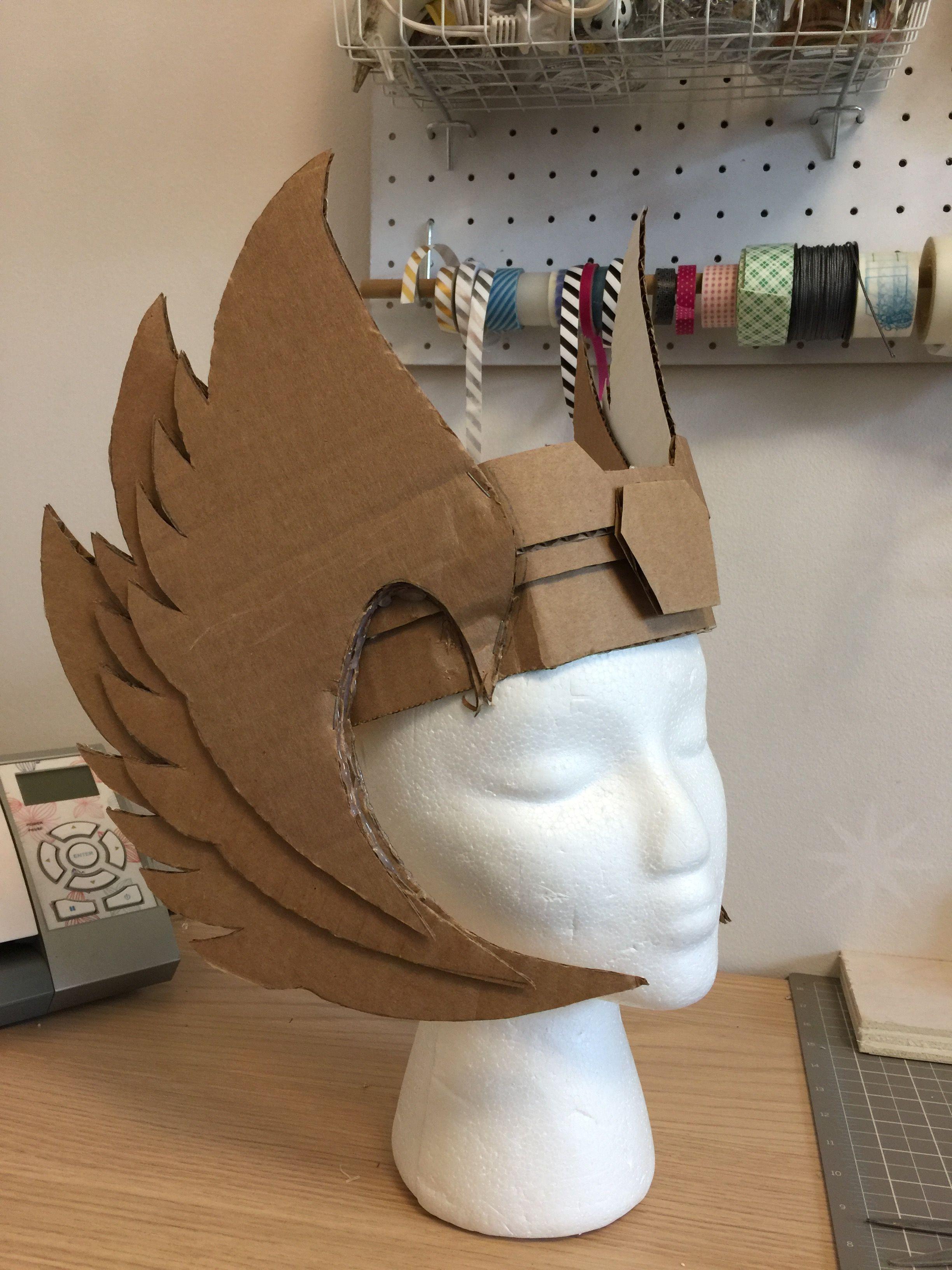 Cardboard craft @eatdrinkandbecrafty  DIY Valkyrie helmet Viking helmet Thor helmet