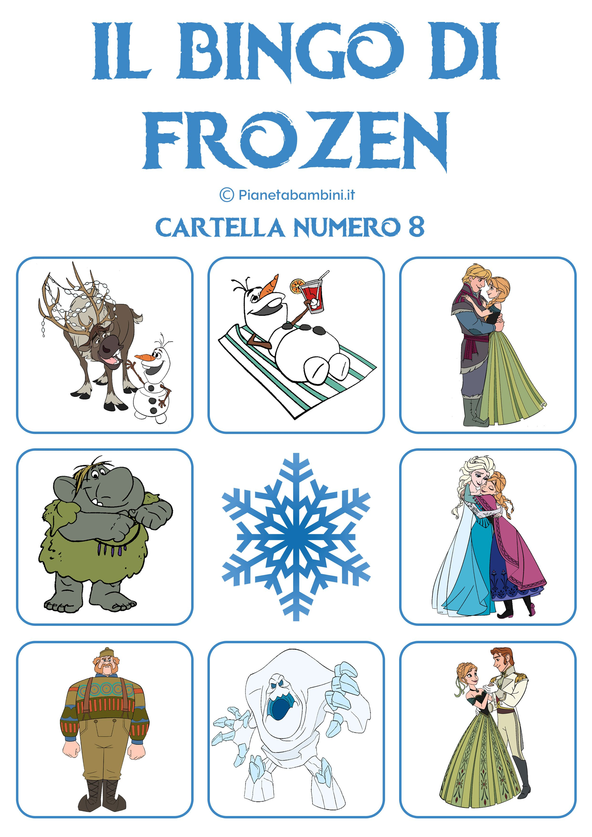 Gioco Bingo Di Frozen Da Stampare Gratis Tombola Frozen
