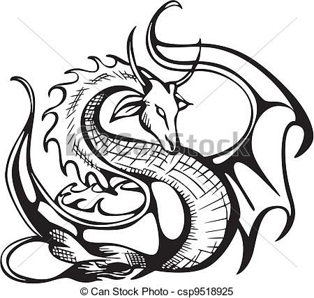dragon clip art coloring pages - photo#28