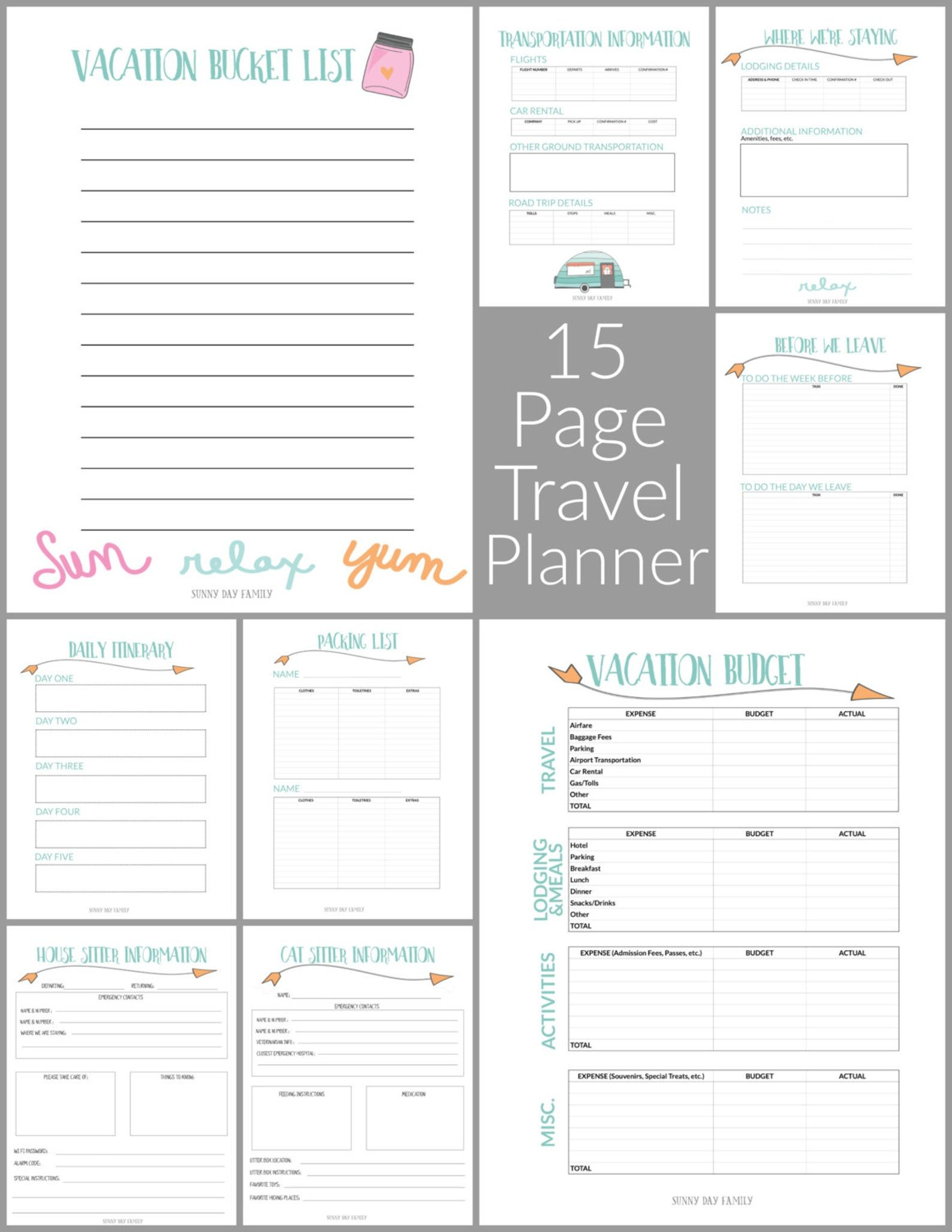 Family Travel Vacation Planner Etsy Travel Planner Template Travel Planner Vacation Planner
