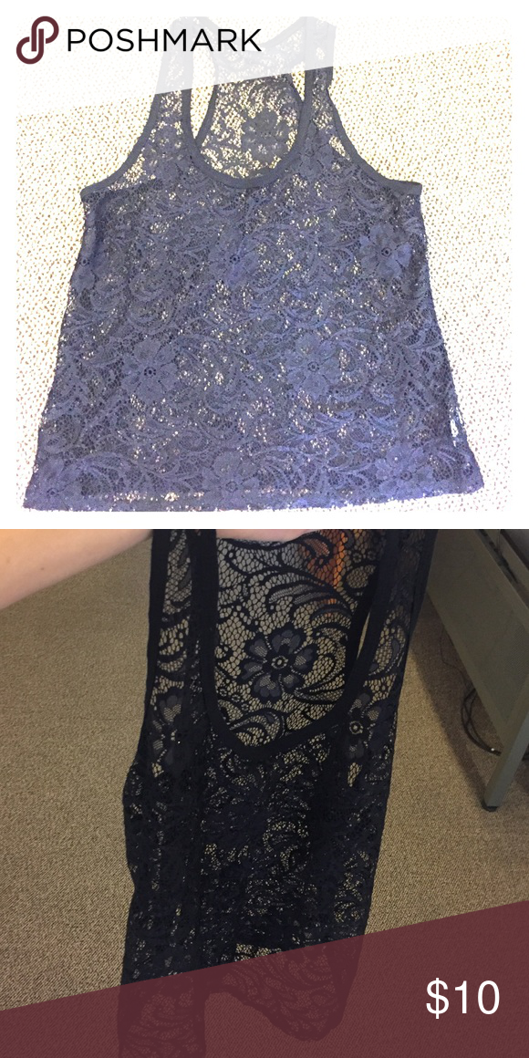 Crochet tank top Great condition.  Great as a beach cover-up or with a tank top underneath Tops Tank Tops