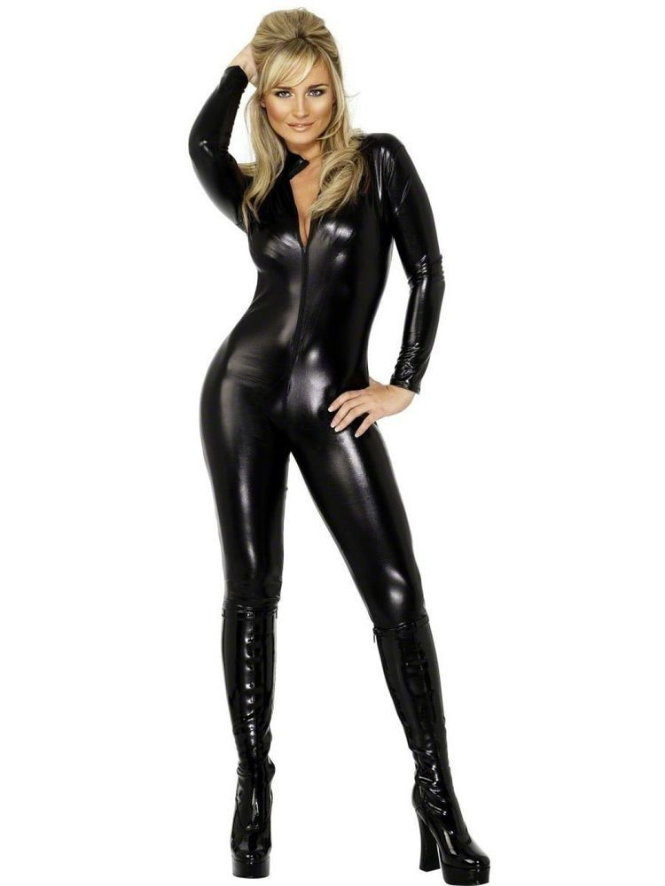 Details about Womens Cat Suit Black Pleather Vinyl Jumpsuit Woman ...