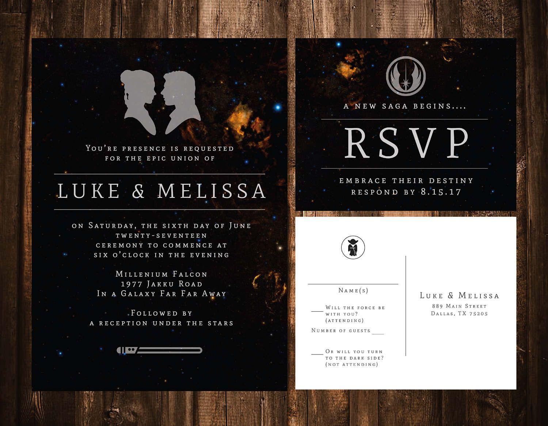 Star Wars Wedding Invitation Wedding Invitation Template Etsy Star Wars Wedding Printable Wedding Invitations Galaxy Wedding
