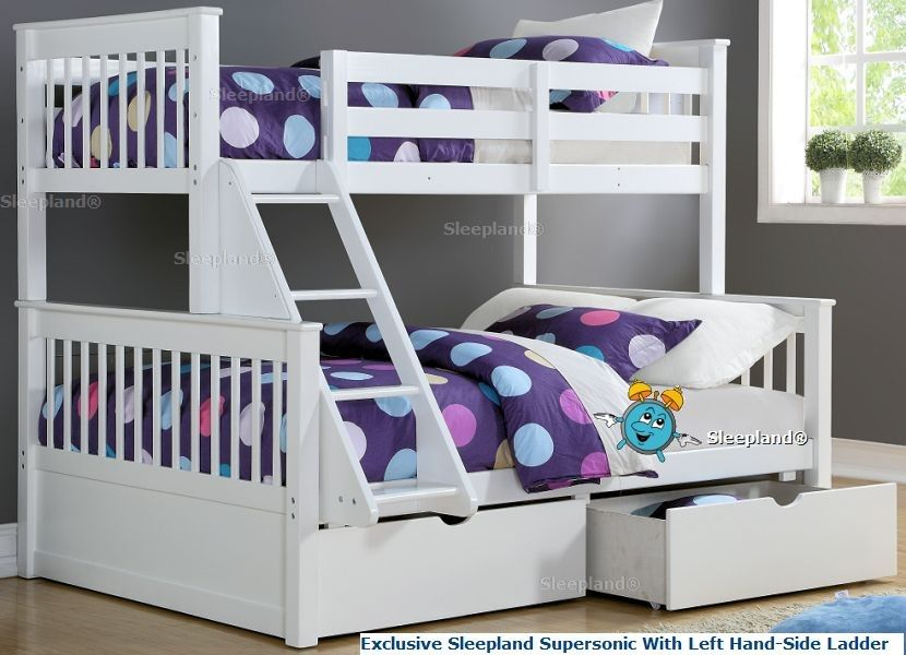 White Double Bunk Beds Left Hand Side Ladder Bunk Beds